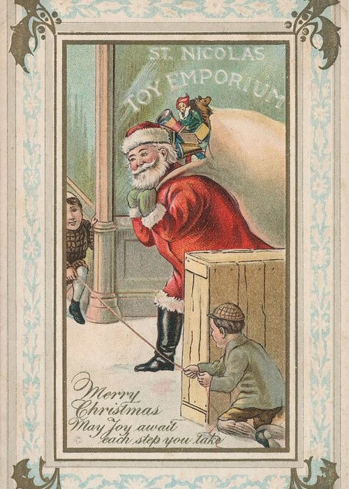 Kids Greeting Card featuring the painting Christmas Card by American School