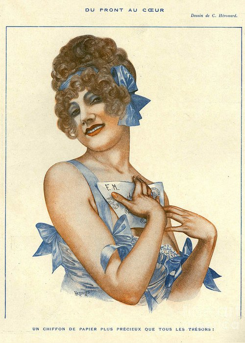 1910�s Greeting Card featuring the drawing La Vie Parisienne 1916 1910s France by The Advertising Archives