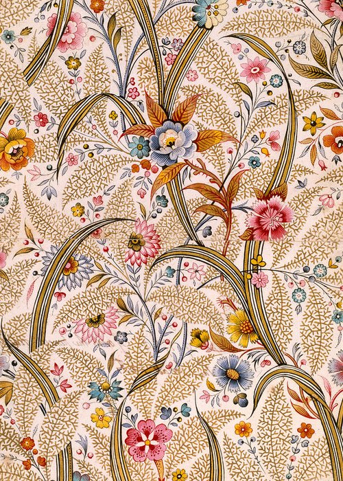 Book Binding; Cover; Endpaper; Floral Pattern; Chintz; Design; 19th; 18th Greeting Card featuring the drawing Marble End Paper by William Kilburn