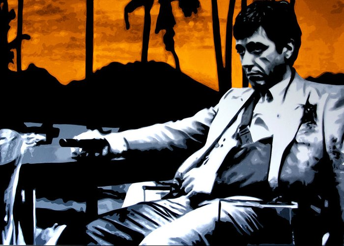 Ludzska Greeting Card featuring the painting Scarface by Luis Ludzska