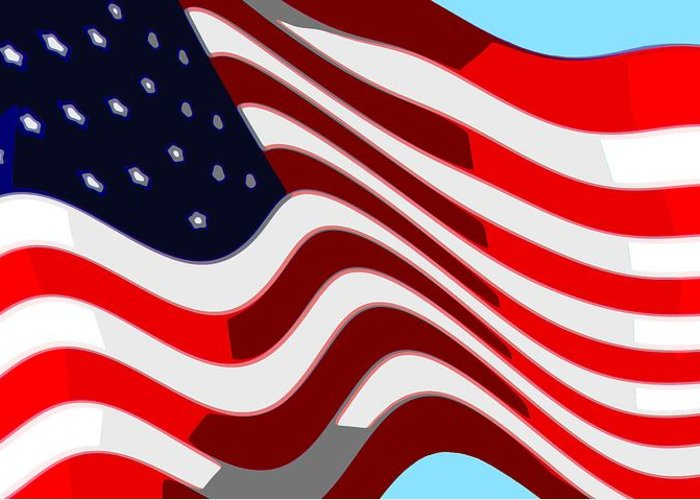 13 Greeting Card featuring the digital art 50 Star American Flag Closeup Abstract 7 by L Brown