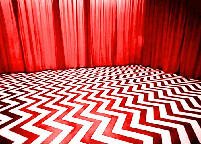 Laura Palmer Greeting Card featuring the painting Black Lodge by Luis Ludzska