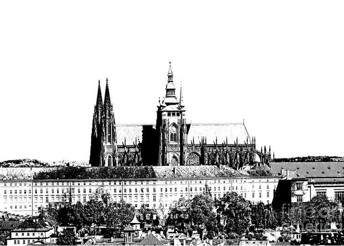 Castle Greeting Card featuring the digital art Cathedral Of St Vitus by Michal Boubin