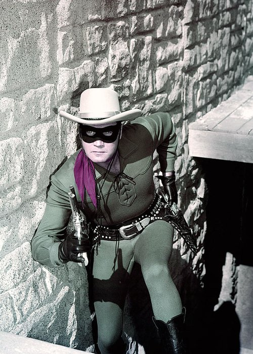 The Lone Ranger Greeting Card featuring the photograph Clayton Moore In The Lone Ranger by Silver Screen