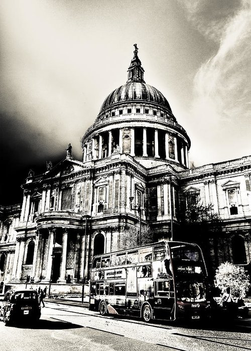 St Pauls Greeting Card featuring the digital art St Pauls Cathedral London Art by David Pyatt