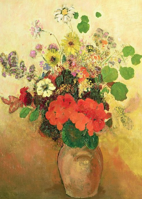 Still Life; Daisy; Vase; Symbolist Greeting Card featuring the painting Vase Of Flowers by Odilon Redon