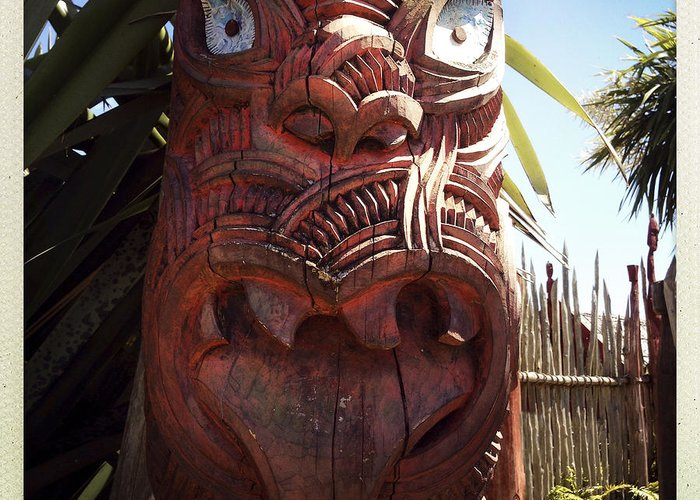 Art Greeting Card featuring the photograph Maori Carving by Les Cunliffe