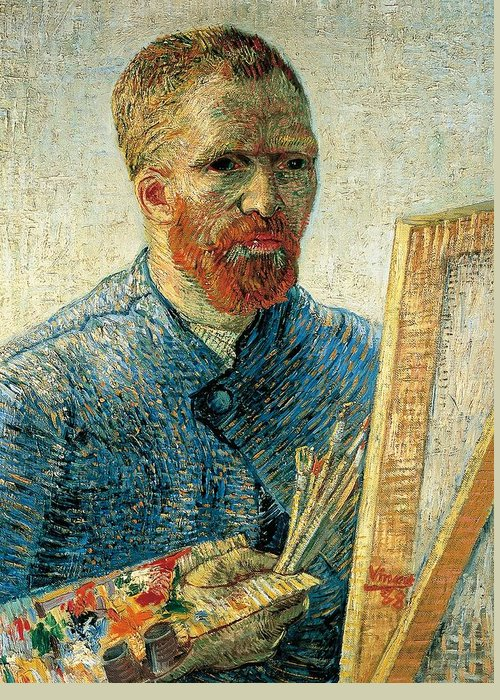 Art Greeting Card featuring the painting Self Portrait by Vincent van Gogh