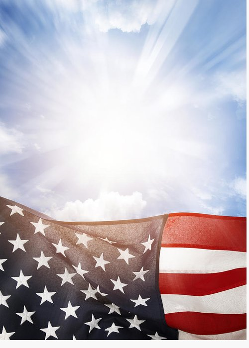 American Greeting Card featuring the photograph American Flag by Les Cunliffe