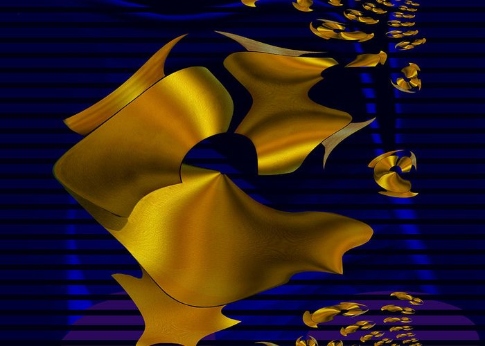 780 Greeting Card featuring the digital art 780 - Golden Foil by Irmgard Schoendorf Welch