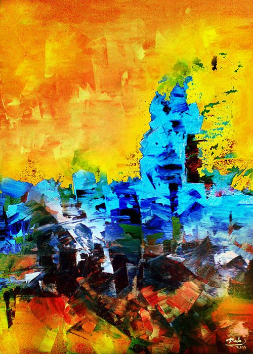Greeting Card featuring the painting Abstract by Deeb Marabeh
