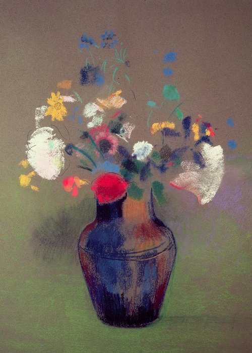 Vase De Fleurs Greeting Card featuring the pastel Vase Of Flowers by Odilon Redon