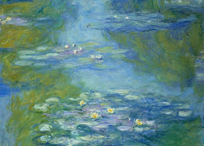 French Greeting Card featuring the painting Waterlilies by Claude Monet