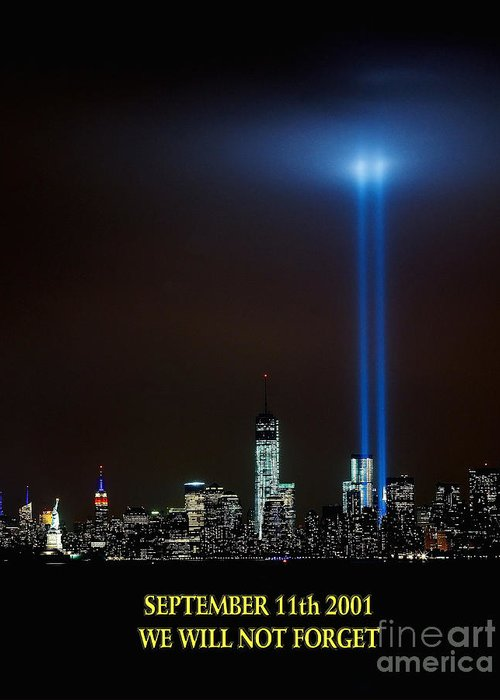 /11 Greeting Card featuring the photograph 9/11 Tribute by Nick Zelinsky