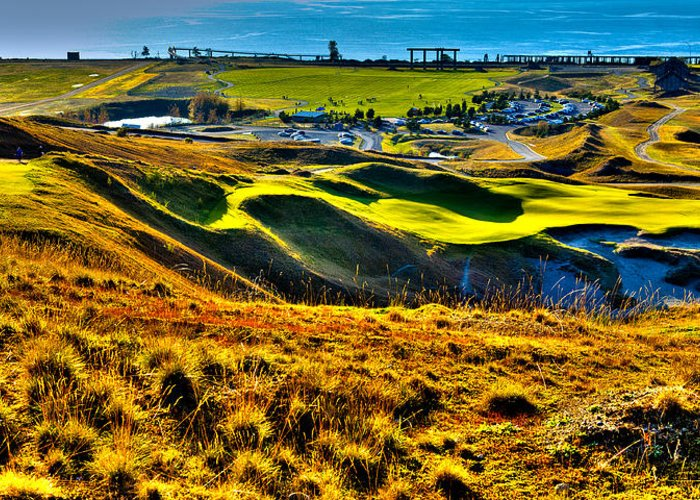 Chambers Bay Golf Course Greeting Card featuring the photograph #9 At Chambers Bay Golf Course - Location Of The 2015 U.s. Open Tournament by David Patterson