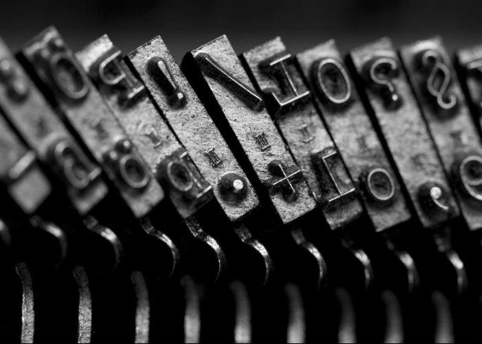Schreibmaschinentasten Greeting Card featuring the photograph Typewriter Keys by Falko Follert