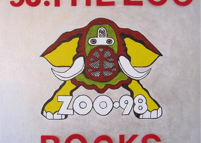 Elephant Pictures Posters Greeting Cards Prints Art Prints Greeting Card featuring the painting 98.the Zoo Rocks by Donna Wilson
