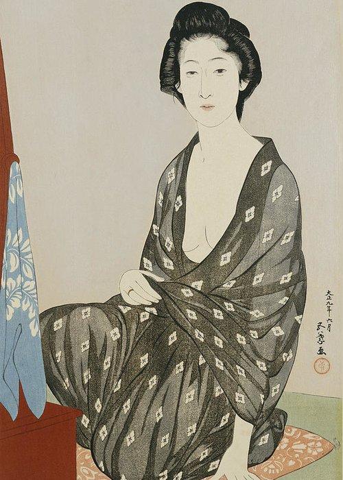 Hashiguchi Greeting Card featuring the painting A Beauty In A Black Kimono by Hashiguchi