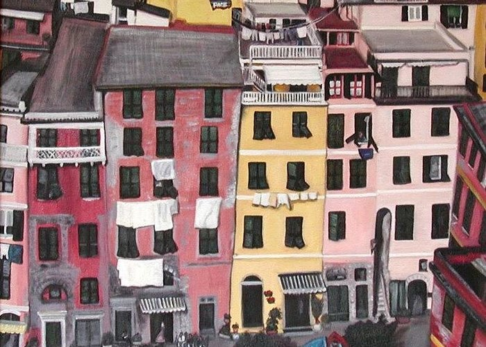 Vernazza Greeting Card featuring the painting A Bird's Eye View Of Cinque Terre by Quin Sweetman