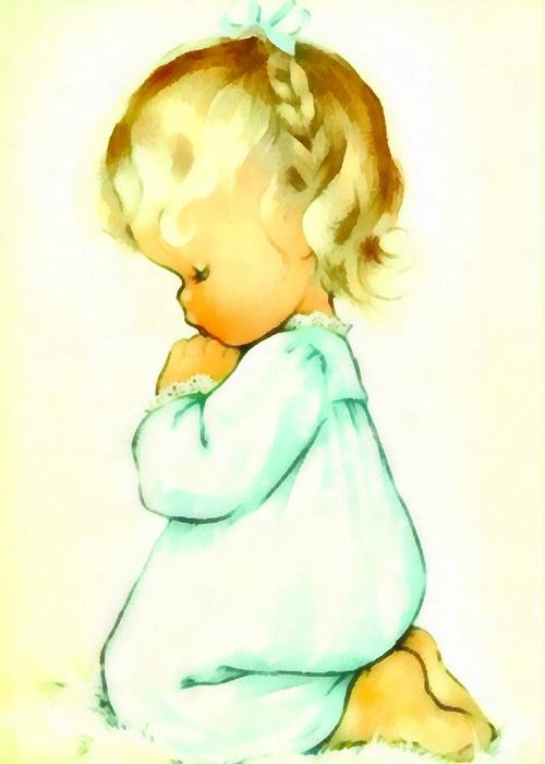 Charlotte Byj Greeting Card featuring the digital art A Childs Prayer by Charlotte Byj