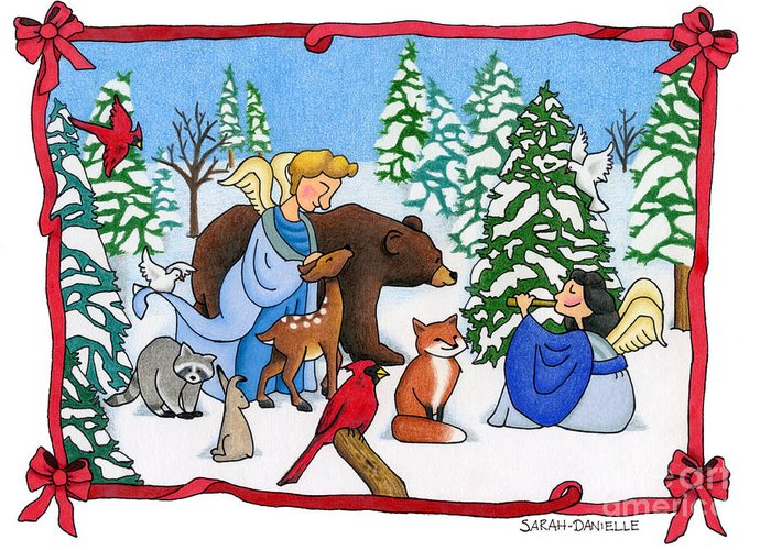 Angels Greeting Card featuring the painting A Christmas Scene 2 by Sarah Batalka