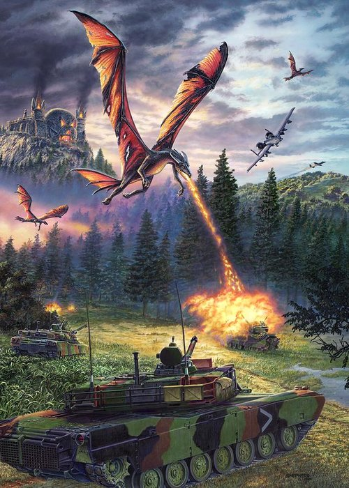 Dragon Greeting Card featuring the painting A Clash Of Worlds by Stu Shepherd