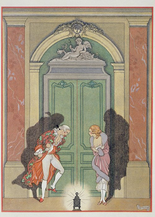 Male Greeting Card featuring the painting A Couple In Candlelight by Georges Barbier