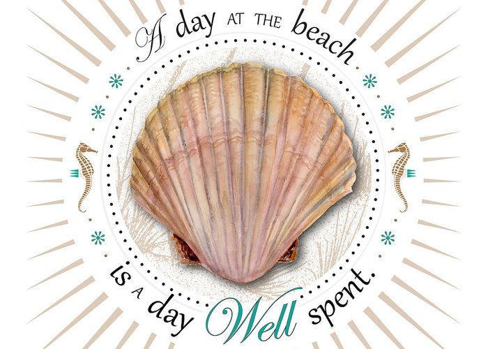 Scallop Greeting Card featuring the painting A Day At The Beach Is A Day Well Spent by Amy Kirkpatrick