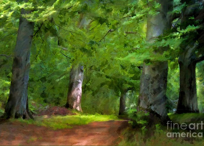 Forest Greeting Card featuring the painting A Day In The Forest by Lutz Baar