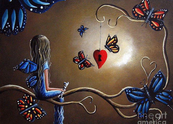 Butterfly Paintings Greeting Card featuring the painting A Fairy's Heart Has Many Secrets by Shawna Erback