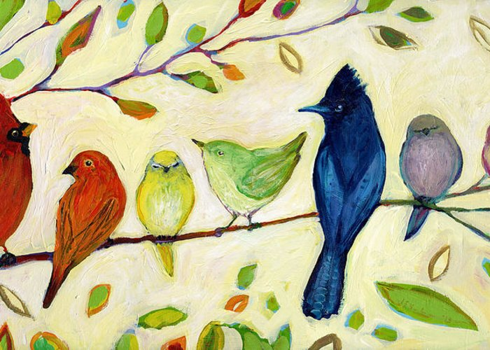 Bird Greeting Card featuring the painting A Flock Of Many Colors by Jennifer Lommers