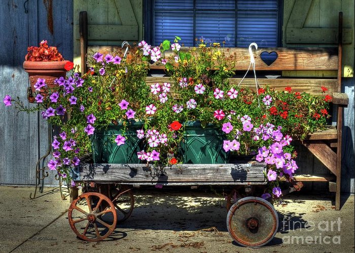 A Flower Wagon Greeting Card featuring the photograph A Flower Wagon by Mel Steinhauer