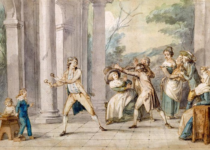 Game Greeting Card featuring the drawing A Game Of Blind Mans Buff, C.late C18th by George Morland