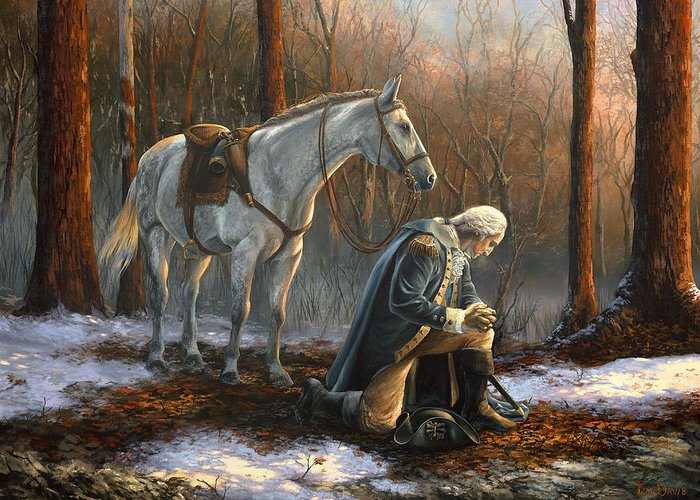 George Greeting Card featuring the painting A General Before His King by Tim Davis