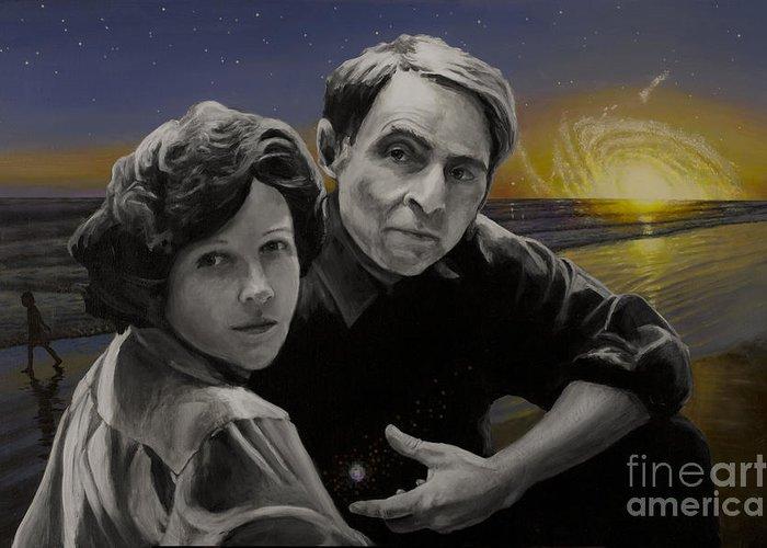 Carl Sagan Greeting Card featuring the painting A Glorious Dawn by Simon Kregar