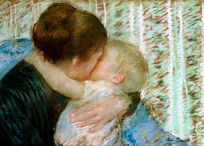 Mary Greeting Card featuring the painting A Goodnight Hug by Mary Stevenson Cassatt