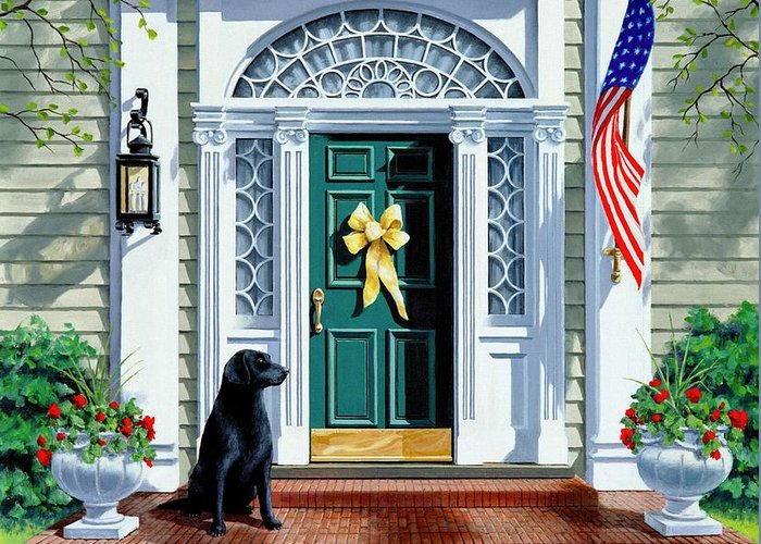 Black Lab Greeting Card featuring the painting A Hero's Welcome by Michael Swanson