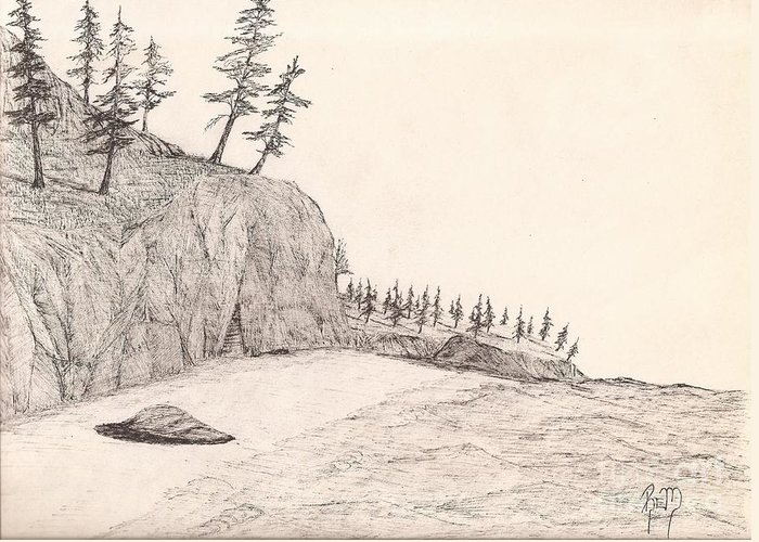 Pen And Ink Greeting Card featuring the drawing A Lakeshore... Sketch by Robert Meszaros