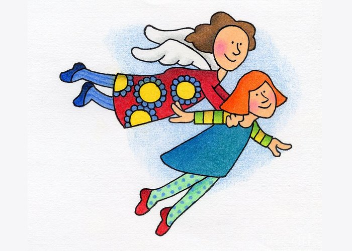 Angels Greeting Card featuring the drawing A Lift Up by Sarah Batalka