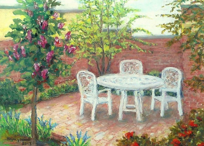 Spring Landscape Greeting Card featuring the painting A Little Spring Patio by Nancy Heindl