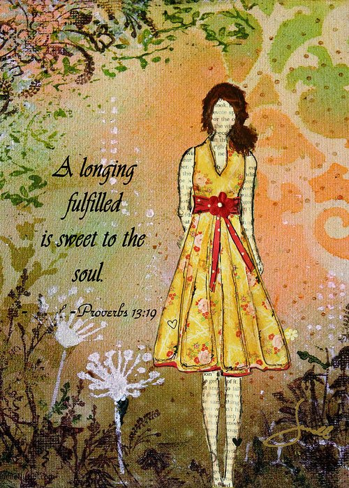 Unique Greeting Card featuring the mixed media A Longing Fulfilled by Janelle Nichol