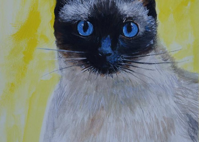 Siamese Greeting Card featuring the painting A Loving Siamese by Leslie Allen