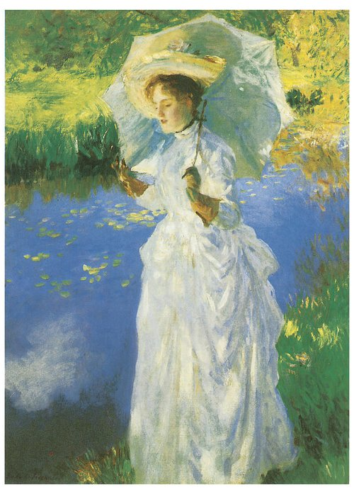 John Singer Sargent Greeting Card featuring the painting A Morning Walk by John Singer Sargent