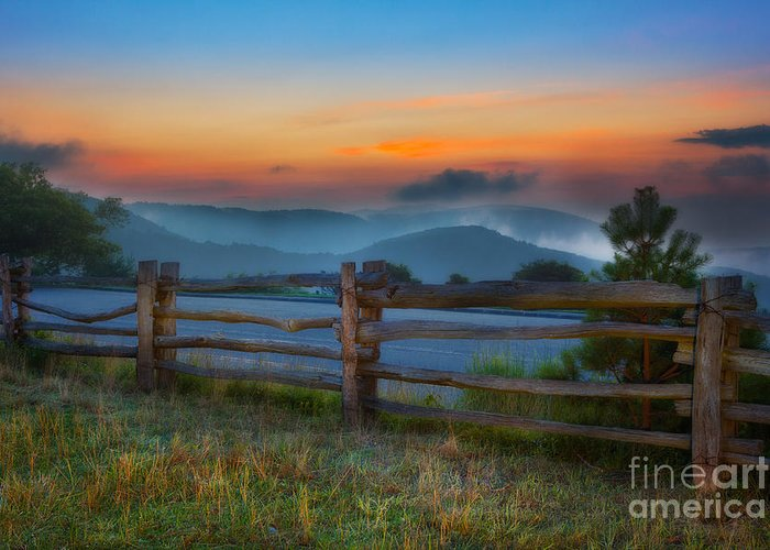 Blue Ridge Parkway Greeting Card featuring the painting A New Beginning - Blue Ridge Parkway Sunrise I by Dan Carmichael