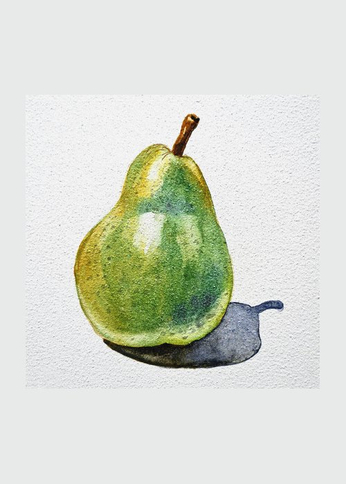 Agriculture Greeting Card featuring the painting A Pear by Irina Sztukowski