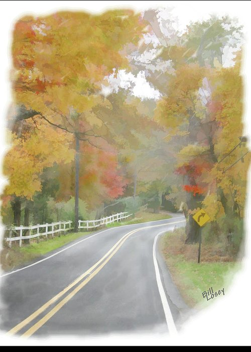 Landscape Greeting Card featuring the digital art A Quiet Country Road by Bill Losey