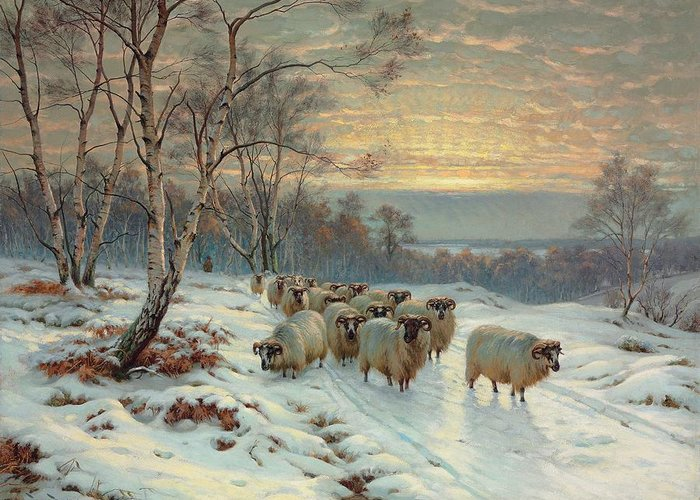 Shepherd Greeting Card featuring the painting A Shepherd With His Flock In A Winter Landscape by Wright Baker