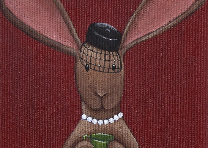 Bunny Greeting Card featuring the painting A Sophisticated Bunny by Christy Beckwith