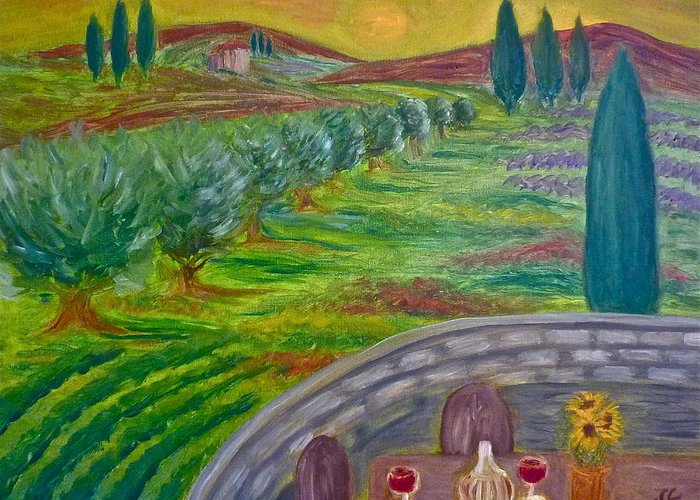 Tuscany Greeting Card featuring the painting A Tuscan Balcony by Victoria Lakes