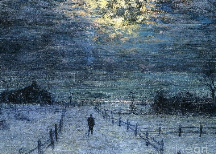 Adult Greeting Card featuring the painting A Wintry Walk by Lowell Birge Harrison